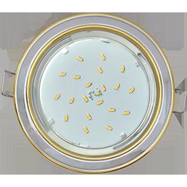 Ecola GX53 H4 9022 светильник встраив. без рефл. 2 цв. золото-хром-золото 38х106 (к ) 1