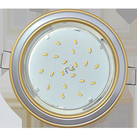 FQ53H4ECB Ecola GX53 H4 9022 светильник встраив. без рефл. 2 цв. золото-серебро-золото 38х106 1