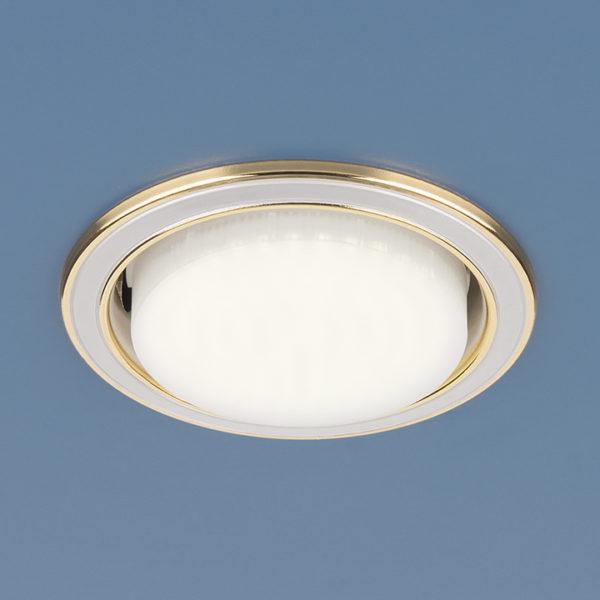 1036 GX53 WH/GD / Светильник встраиваемый белый/золото 1