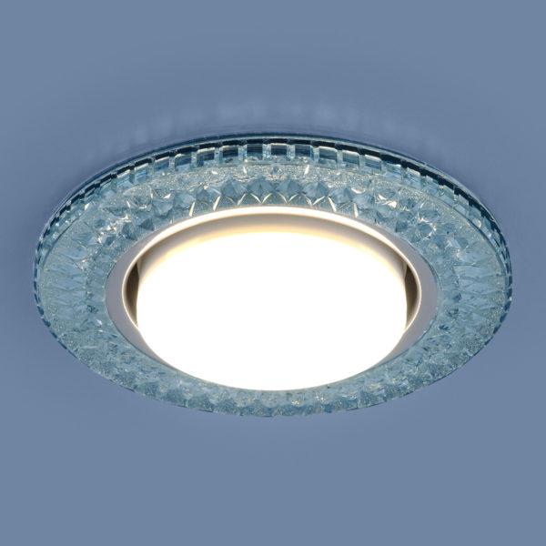 3021 GX53 / Светильник встраиваемый BL лазурный 3