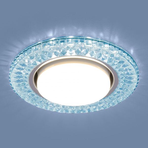 3021 GX53 / Светильник встраиваемый BL лазурный 1