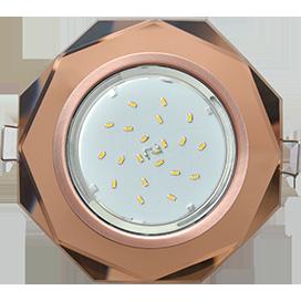 FA538AECH Ecola GX53 H4 5312 Glass Стекло 8-угольник с прямыми гранями черненая медь - янтарь 38x133 1