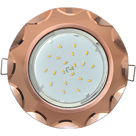 FA53RCECH Ecola GX53 H4 5313 Glass Стекло Круг с вогнутыми гранями черненая медь - янтарь 38x126 1