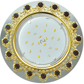 FA53RNECB Ecola GX53 H4 5360 Glass Круг с  прозр.и янтарн. стразами Корона (оправа золото)/фон зерк../центр.часть золото 52x120 1