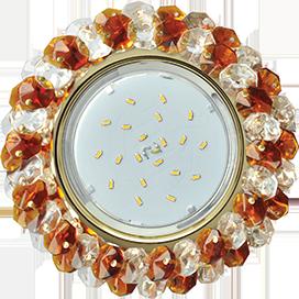FA53RYECB Ecola GX53 H4 5341 Glass Круглый с хрусталиками Прозрачный и Янтарь /Золото 56x120 1