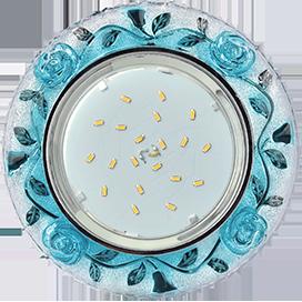 """FB53CREFB Ecola GX53 H4 LD7071 Светильник встр. искристый с подсветкой """"Розы"""" Прозрачный и Голубой / Хром 35x125 1"""