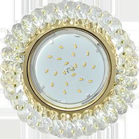 FD53RYECB Ecola GX53 H4 5341 Glass Круглый с хрусталиками Прозрачный /Золото 56x120 1
