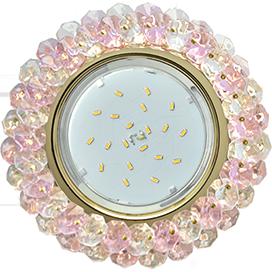 Ecola GX53 H4 5341 Glass Круглый с хрусталиками Прозрачный и Розовый /Золото 56x120 (к ) 1