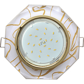 FG538AECH Ecola GX53 H4 5312 Glass Стекло 8-угольник с прямыми гранями золото - золото на белом 38x133 1