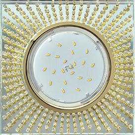 FG53SGECB Ecola GX53 H4 5352 Glass Квадрат с прозр.стразами (оправа золото)/фон зерк./центр.часть золото 40x123x123 1