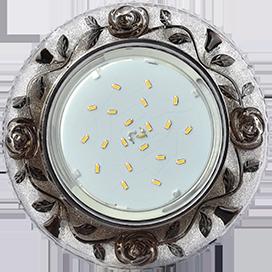 """Ecola GX53 H4 LD7071 Светильник встр. искристый с подсветкой """"Розы"""" Прозрачный и Черный / Хром 35x125 (к ) 1"""