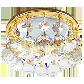 FL53RVECB Ecola GX53 H4 5346 Glass Круглый с большими хрусталиками на прямом подвесе  Прозрачный /Золото 90x110 1