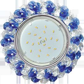 FL53RYECB Ecola GX53 H4 5341 Glass Круглый с хрусталиками Прозрачный и Голубой /Хром 56x120 1