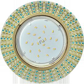 Ecola GX53 H4 5363 Glass Круг с прозр.и бирюз. стразами (оправа золото)/фон зерк./центр.часть золото 40x120 (к ) 1