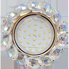 Ecola GX53 H4 5342 Glass Круглый с большими хрусталиками Прозр.искристый/Золото 56x125 (к ) 1