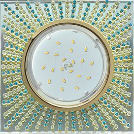 Ecola GX53 H4 5353 Glass Квадрат с прозр.и бирюз. стразами (оправа золото)/фон зерк../центр.часть золото 40x123x123 (к ) 1