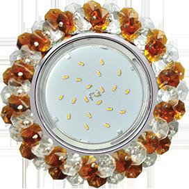 FO53RYECB Ecola GX53 H4 5341 Glass Круглый с хрусталиками Прозрачный и Янтарь /Хром 56x120 1
