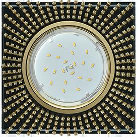 FP53SGECB Ecola GX53 H4 5352 Glass Квадрат с прозр.стразами (оправа золото)/фон черный./центр.часть золото 40x123x123 1