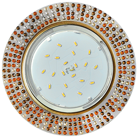 Ecola GX53 H4 5319 Glass Круг с  прозр.-янтарной мозаикой/фон зерк../центр.часть черненая бронза 40x123x123 (к ) 1