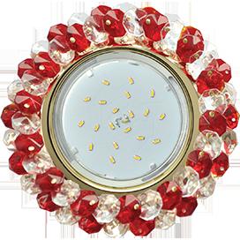 Ecola GX53 H4 5341 Glass Круглый с хрусталиками Прозрачный и Рубин /Золото 56x120 (к ) 1