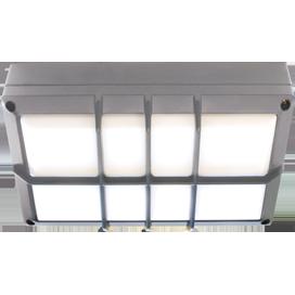 Ecola GX53 LED B4158S светильник накладной IP65 матовый Прямоугольник с решеткой алюмин. 2*GX53 Серый 215x135x65 1