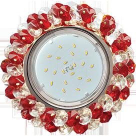 Ecola GX53 H4 5341 Glass Круглый с хрусталиками Прозрачный и Рубин /Хром 56x120 (к ) 1