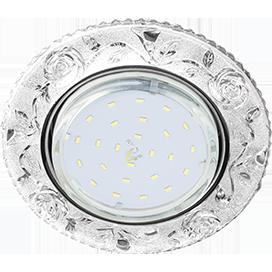 """FT53CREFB Ecola GX53 H4 LD7071 Светильник встр. искристый с подсветкой """"Розы"""" Прозрачный / Хром 35x125 1"""