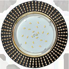FT53RGECB Ecola GX53 H4 5364 Glass Круг с прозр.стразами (оправа золото)/фон черн./центр.часть золото 40x120 1