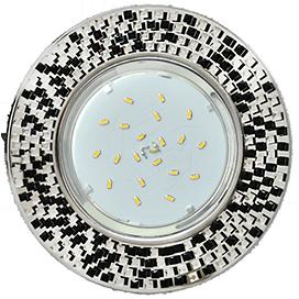 FU53RMECB Ecola GX53 H4 5319 Glass Круг с  прозр.-черной мозаикой/фон зерк../центр.часть хром 40x123x123 1