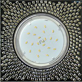 FX53SGECB Ecola GX53 H4 5320 Glass Квадрат с  прозр.  мозаикой/фон черный./центр.часть хром 40x123x123 1