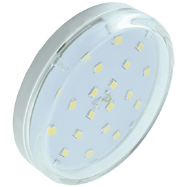 Ecola GX53   LED  6,0W Tablet 220V 4200K прозрачное стекло (композит) 27x75 1