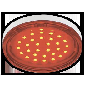 T5TR44ELC Ecola GX53   LED color  4,4W Tablet 220V Red Красный (насыщенный цвет) прозрачное стекло 27x74 1