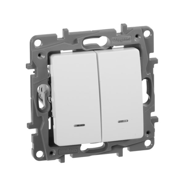 Выключатель двухклавишный с подсветкой - Etika - 10 AX - 250 В~ - белый 1