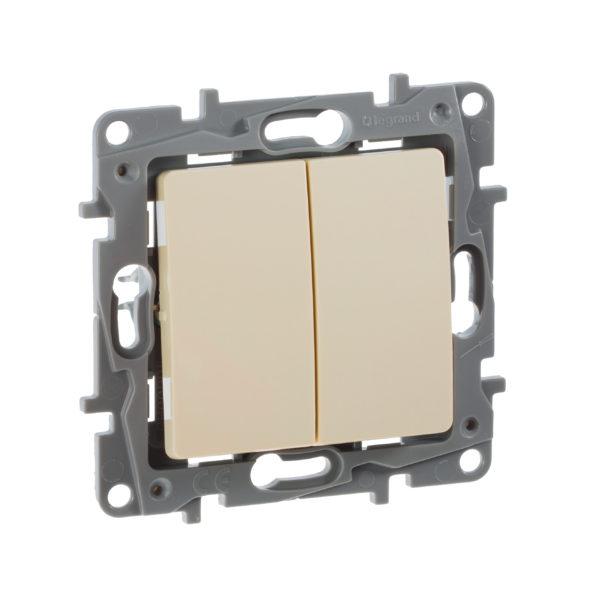 Выключатель двухклавишный - Etika - 10 AX - 250 В~ - слоновая кость 1