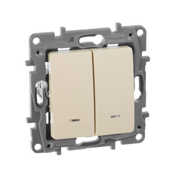 Выключатель двухклавишный с подсветкой - Etika - 10 AX - 250 В~ - слоновая кость 1
