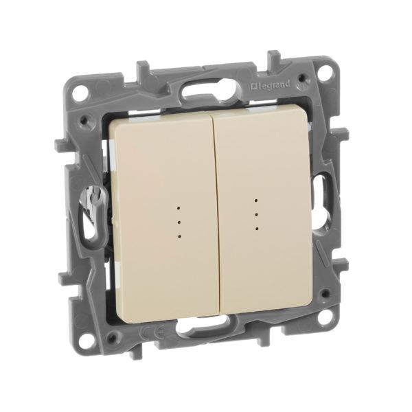 Выключатель/переключатель двухклавишный сподсветкой - Etika Plus - 10 AX - 250 В~ - слоновая кость 1