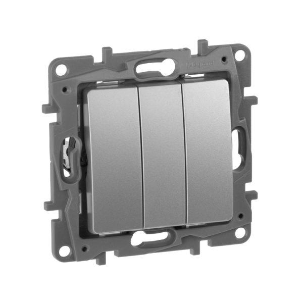 Выключатель трехклавишный - Etika Plus - 10 AX - 250 В~ - алюминий 1