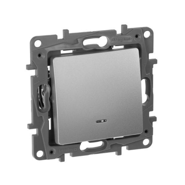 Выключатель/переключатель с подсветкой - Etika Plus - 10 AX - 250 В~ - алюминий 1