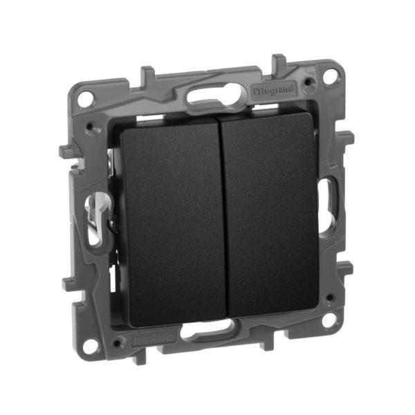Выключатель/переключатель двухклавишный - Etika Plus - 10 AX - 250 В~ - антрацит 1