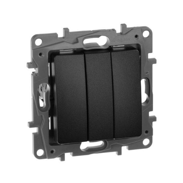 Выключатель трехклавишный - Etika Plus - 10 AX - 250 В~ - антрацит 1