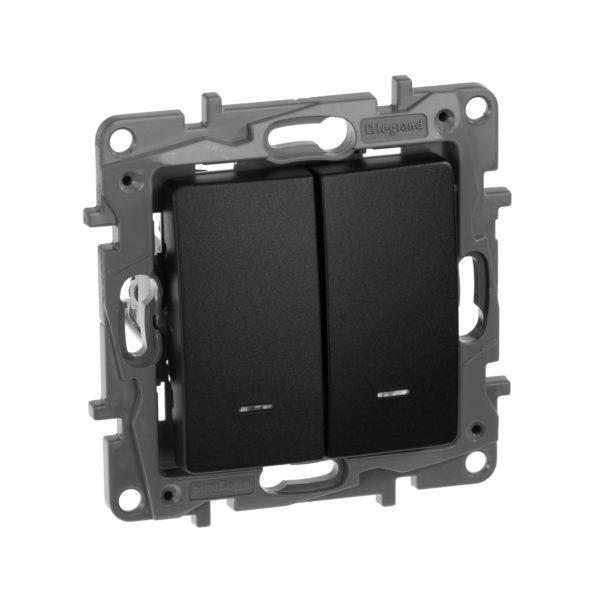 Выключатель/переключатель двухклавишный сподсветкой - Etika Plus - 10 AX - 250 В~ - антрацит 1